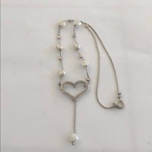Vintage sterling silver Heart Pearl Necklace